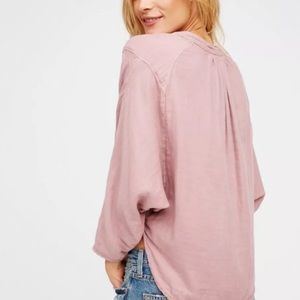 Free People Tops - Free People Sz M Doublecloth Solid Top Dusty Pink